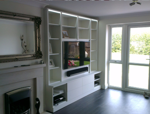 White Gloss Living Room Media Unit in Kent