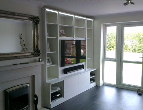 White Gloss Living Room Media Unit in Kent